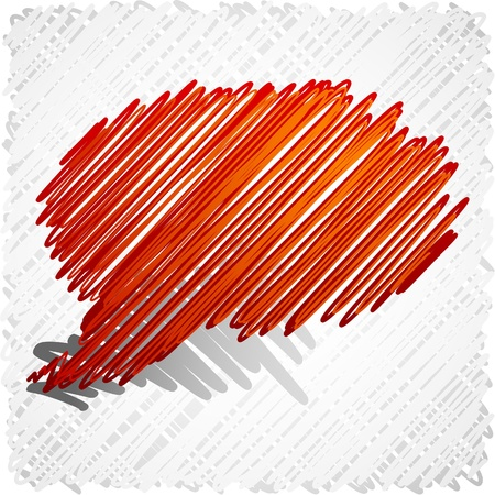 scribbled: Scribbled red speech symbol.