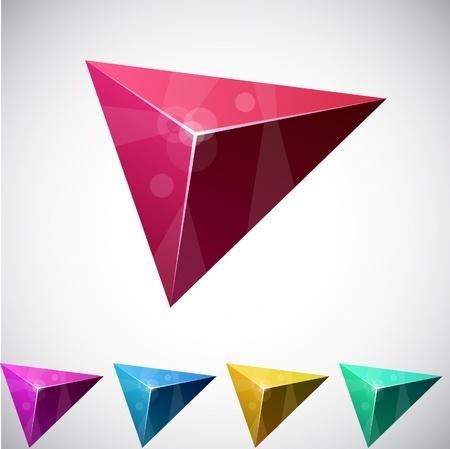 poligonos: Variaci�n de color de pir�mide triangular vivo.