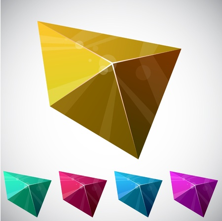Color variation of shiny vivid pyramid.   Stock Vector - 9083591