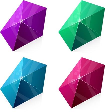 pentagonal: Color variation of pentagonal vivid pyramid.  Illustration