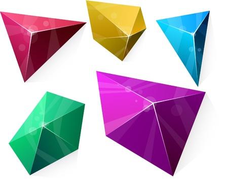 Color variation of Polygonal vivid pyramid.  Vector