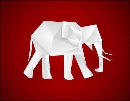 Origami paper elephant on red.   Vector