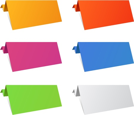 Color variation of paper origami labels.   Vector