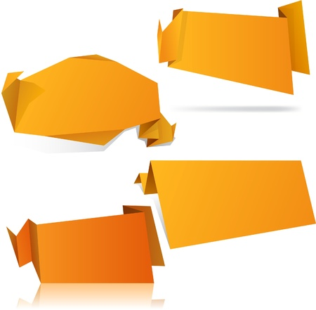 High-detailed paper origami label.  Vector