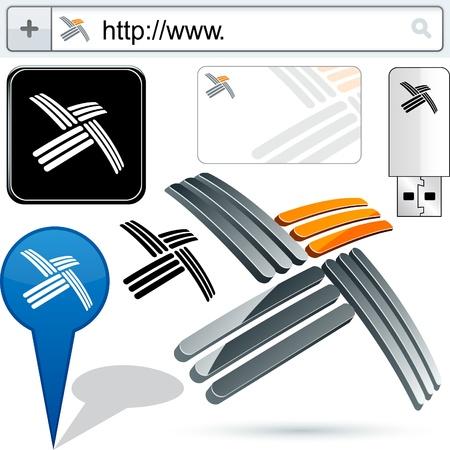 Original propeller emblems represented in different usages.  Vector