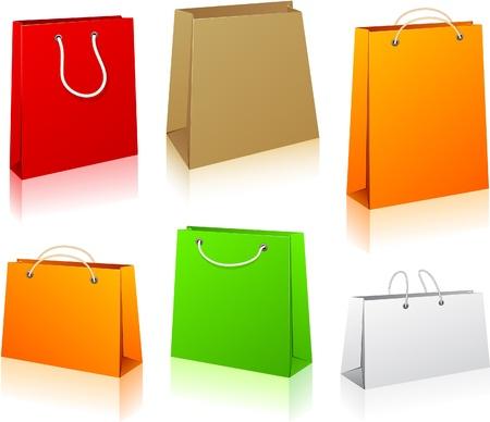 Illustrazione vettoriale di sacchetti di carta commerciale. Senza trasparenza.