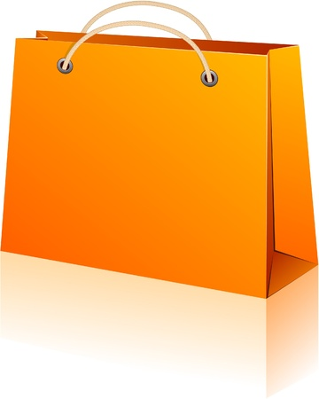 Vector illustration of paper shopping bag. No transparency.   Vector