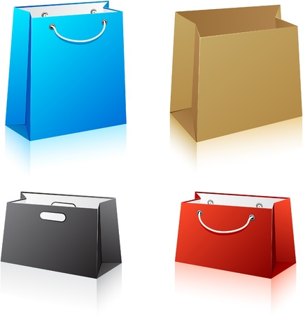 Vector illustration of paper shopping bags. No transparency.   Vector