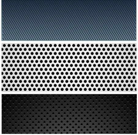 aluminium wallpaper: Vector set of perforated Metallic patterns.  Illustration