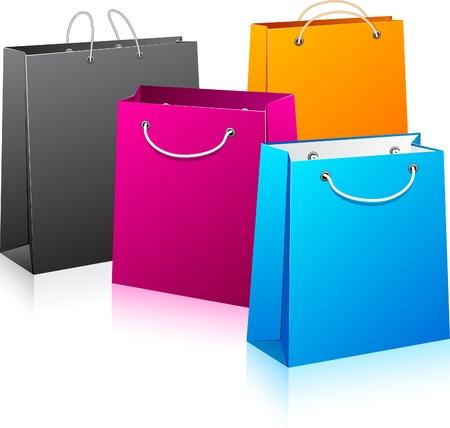 Illustrazione vettoriale di borse della spesa di colore. No trasparenza. Eps8 Solo.