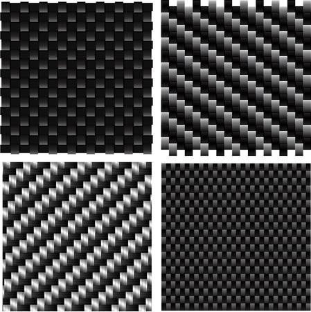 fibra de carbono: Conjunto de vectores de patrones de carbono con textura.  Vectores