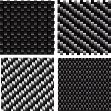 textile industry: Vector set of textured carbon patterns.  Illustration