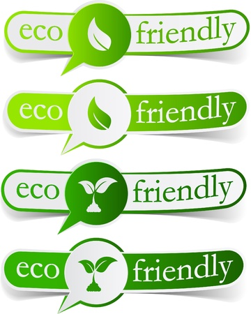 stickers: illustration of Eco friendly sticky labels.