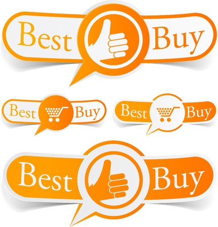 illustration of Best buy sticky labels. Vektorové ilustrace