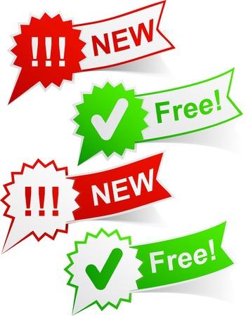 sticky: illustration of new and free sticky labels.  Illustration