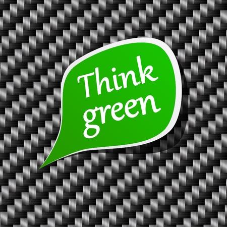 think green: Ilustraci�n de la etiqueta de papel verde discurso de pensar.  Vectores