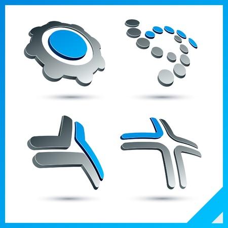 convex shape: Set of vector business blue 3d signs.