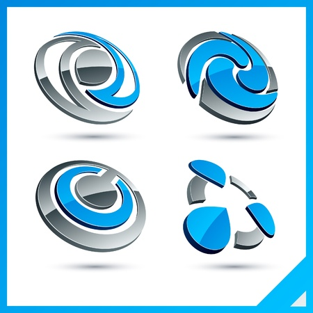Set of vector business blue 3d signs.   Vector