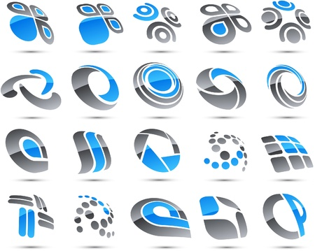 Set of vector business blue abstract signs.