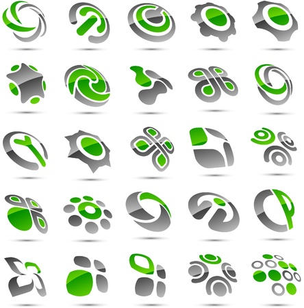 convex shape: Set of vector business green abstract signs.    Illustration