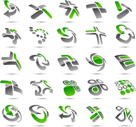 Set of vector business green abstract signs.