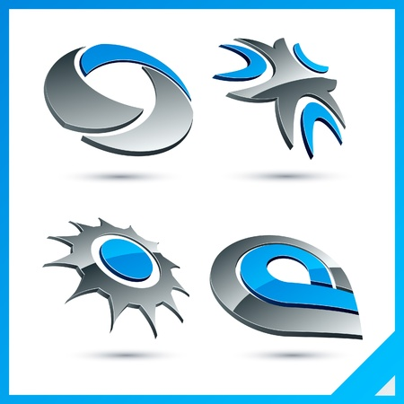 Set of vector business blue 3d signs.   Stock Vector - 10027763