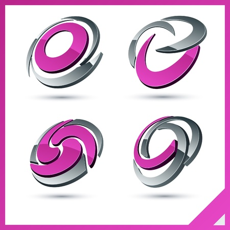 Set of vector business pink 3d signs.