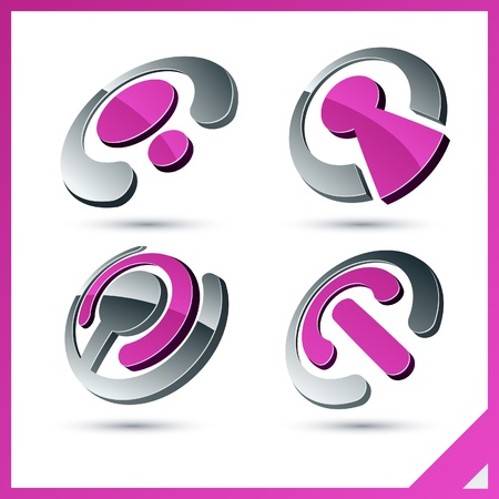 hinge joint: Set of vector business pink 3d signs.