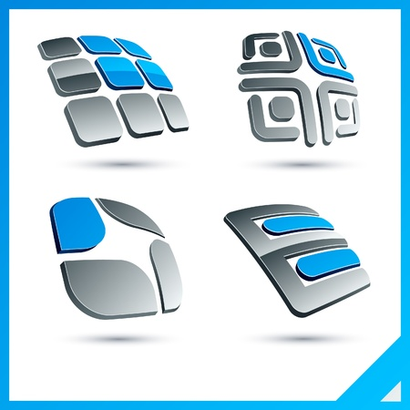 rounded squares: Set of vector business blue 3d signs.