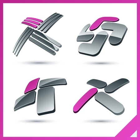 Set of vector business pink 3d signs. Vector