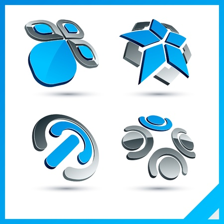 Set of vector business blue 3d signs. Stock Vector - 10027808