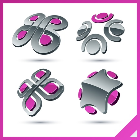 4 star: Set of vector business pink 3d signs.