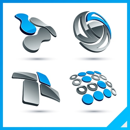 Set of vector business blue 3d signs.