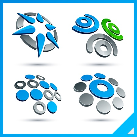 Set of vector business blue 3d signs. Stock Vector - 10059176