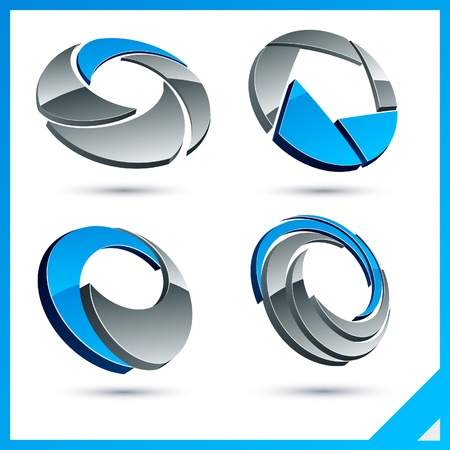 rounded circular: Set of vector business blue 3d signs.