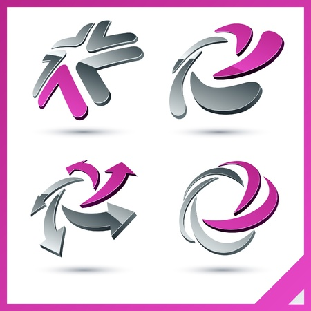 five elements: Set of vector business pink 3d signs.