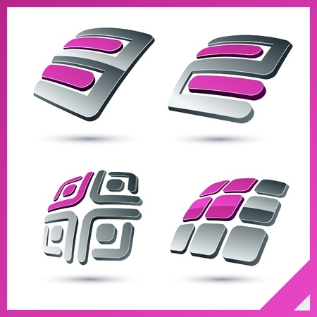 rounded square: Set of vector business pink 3d signs.