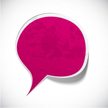fuchsia: Ilustraci�n vectorial de discurso de bienvenida de papel Fuchsia. Vectores