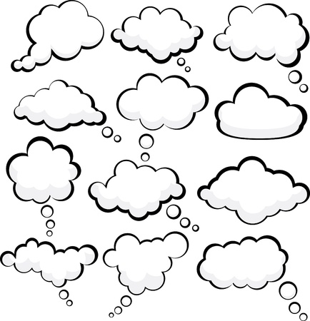 clouds cartoon: Conjunto de burbujas de discurso de estilo comic.