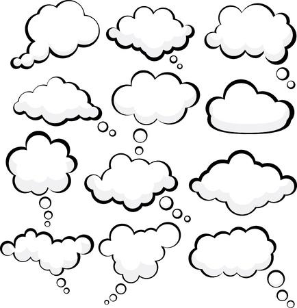 bande dessin�e bulle: Ensemble de bulles de discours de style comique.  Illustration