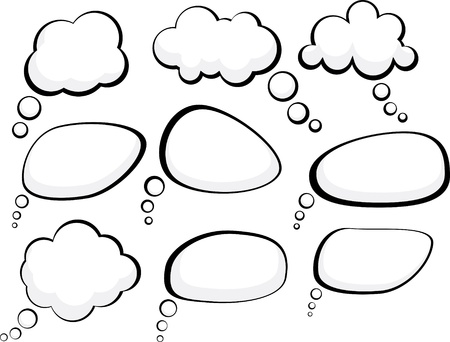 burbujas de pensamiento: Conjunto de burbujas de discurso de estilo comic.