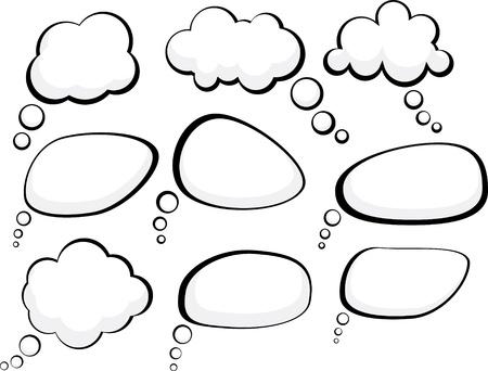 Jeu de bulles dessinées de style. Vecteurs