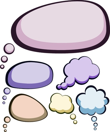 thought bubbles: Set of comic style speech color bubbles. Illustration