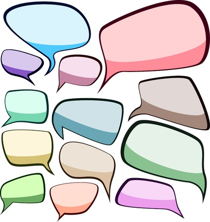 dialog balloon: Set of comic style speech color bubbles. Illustration