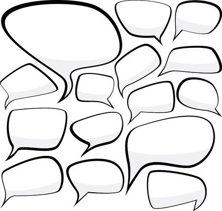 burbujas de pensamiento: Conjunto de burbujas de discurso de estilo comic Vectores