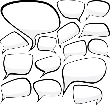 bubble icon: Set of comic style speech bubbles Illustration