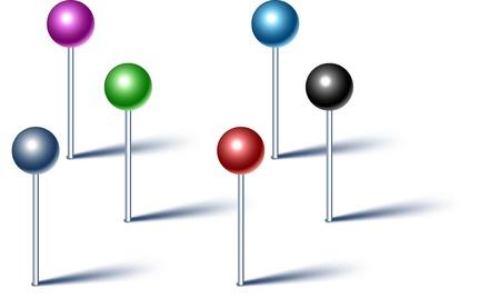 tachuelas: Ilustraci�n vectorial de alta detalladas alfileres.