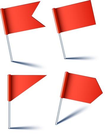 pushpins: Ilustraci�n de vector de banderas rojas pin. Vectores