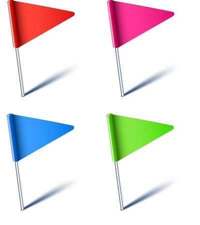 Ilustración vectorial de las banderas de pines de color.