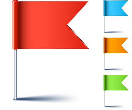 thumbtack: Vector illustration of color pin flags.
